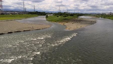 浅川と多摩川の合流ポイント