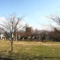 マンションと小公園のある風景