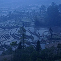 写真: 夜明けを待つ棚田の村