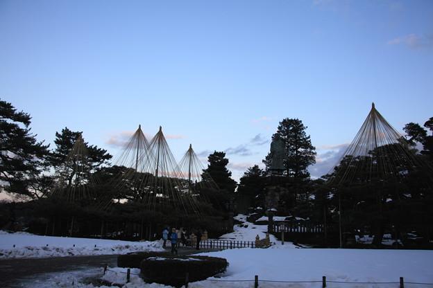 兼六園 日本武尊の像と雪つり