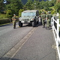 写真: 別府陸 上自衛隊で装甲車やジープに乗りました。